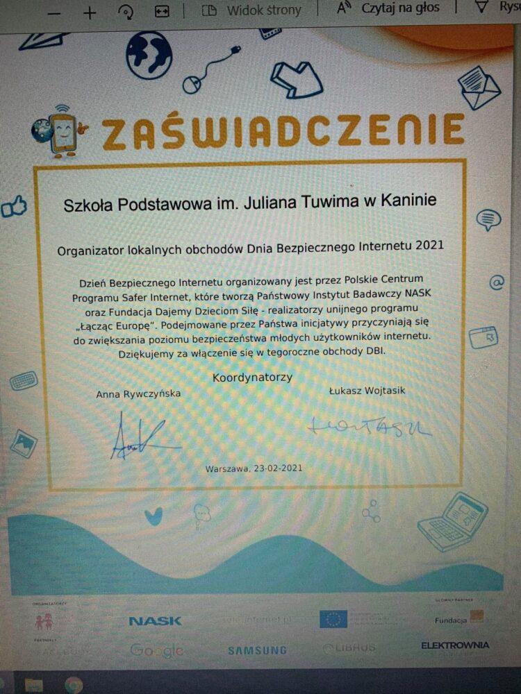 Certyfikat dla naszej szkoły.