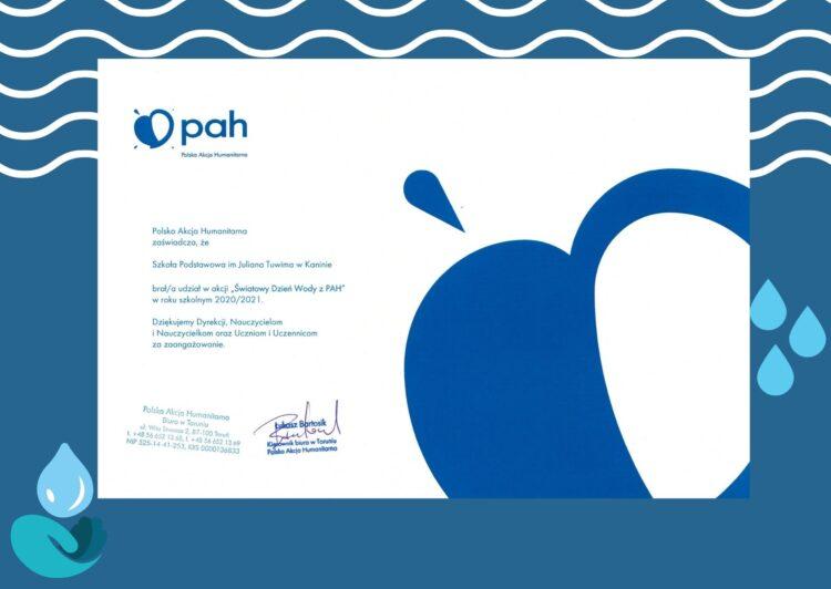 Podziękowania za udział w Światowym Dniu Wody z PAH